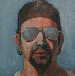 Self Portrait, Oil on Canvas, 12x12.  First painting of 2010.