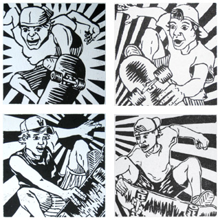 4 skater woodblock prints
