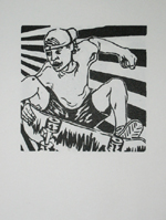 Land Speed Skater Woodblock Print