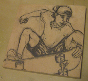 woodblock for a skater print