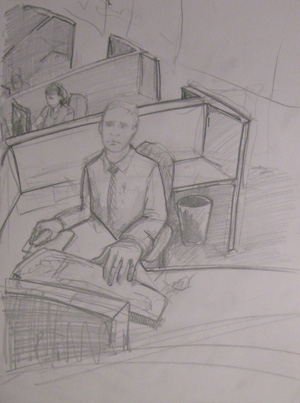 pencil sketch of cubicles
