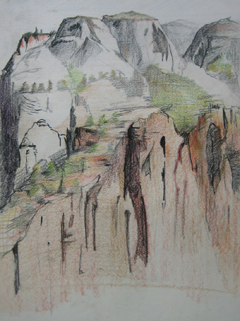 Colored Pencil Drawing looking north from Angel's Landing by Sean Neprud