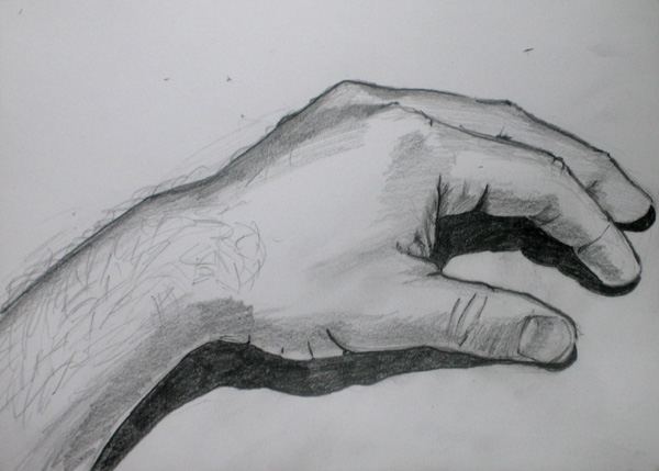 Pencil sketch of my hand