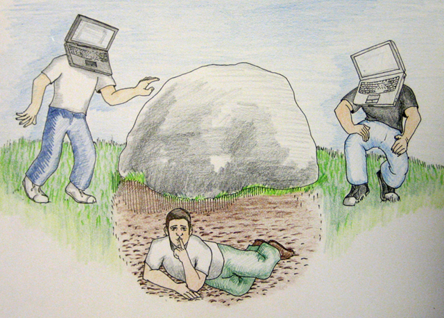 hiding under rock drawing