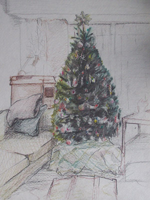 Pencil Drawing Christmas Tree