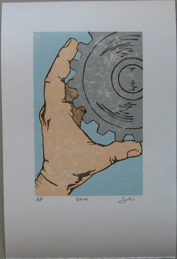 Drive Woodblock Print Cool Blue Variant