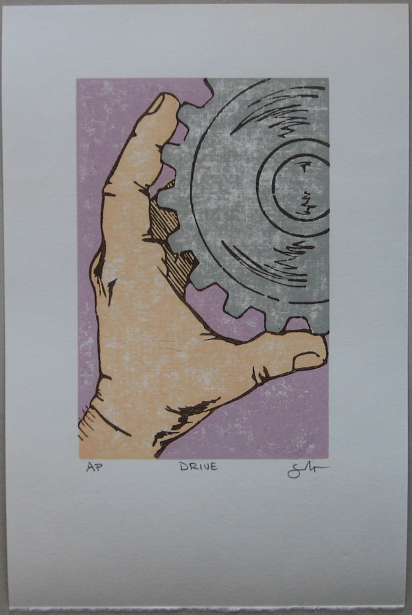 Drive Woodblock Print Powerful Pink Variant