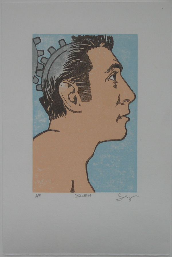 Driven Woodblock Print Cool Blue Variant
