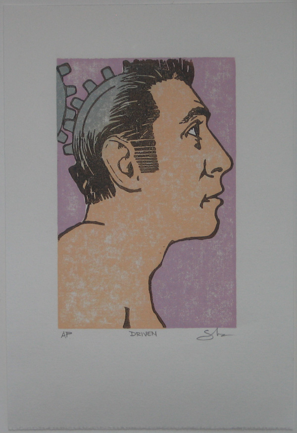Driven Woodblock Print Powerful Pink Variant