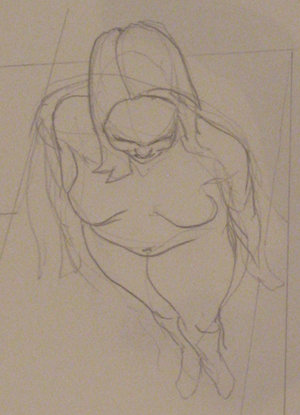 Sketch Study of Woman in perspective
