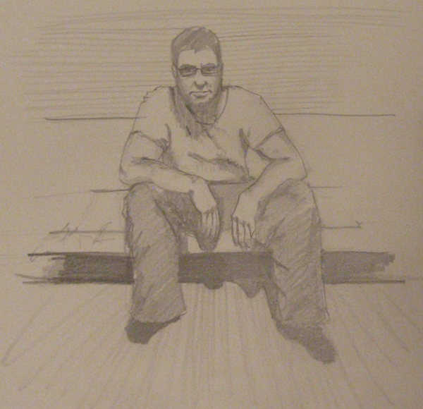 sketch of myself on a couch